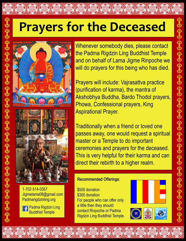 Prayers for the Deceased - Padma Rigdzin Ling Buddhist Temple